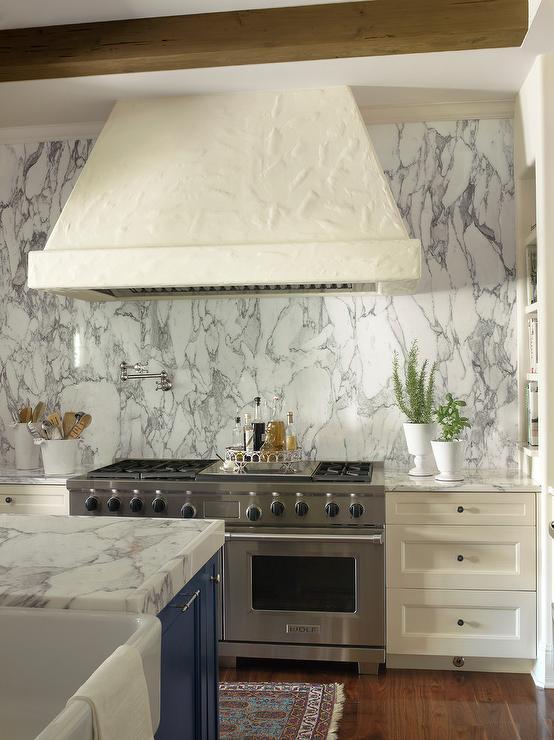 Ivory Stucco Kitchen Hood Design Ideas