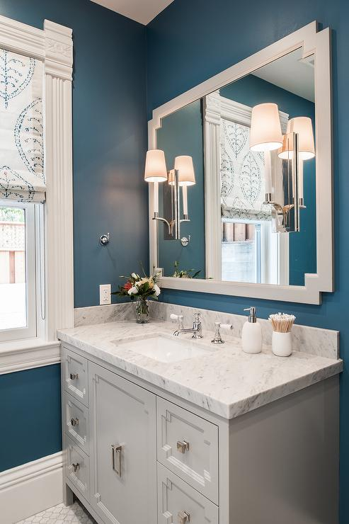 Light Gray And Blue Bathroom Color Scheme Transitional
