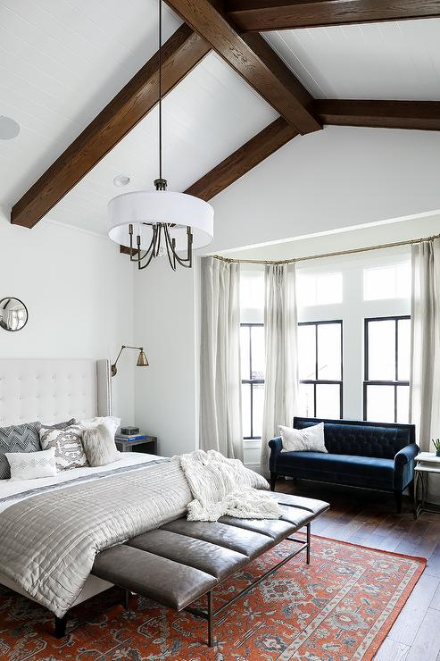 Bedroom Blue Velvet Roll Arm Sofa Transitional Bedroom