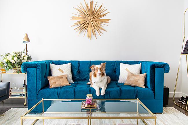 Gold Sunburst Mirror Over A Sapphire Blue Velvet Tufted Sofa
