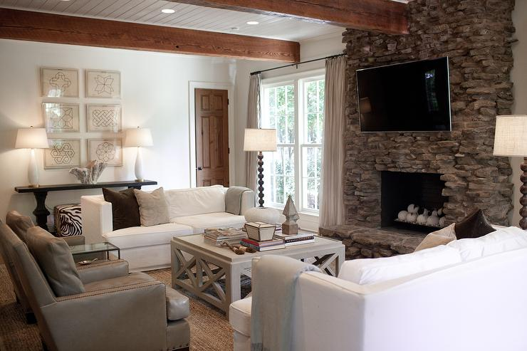 White Sofas With Gray Wood Coffee Table Cottage Living