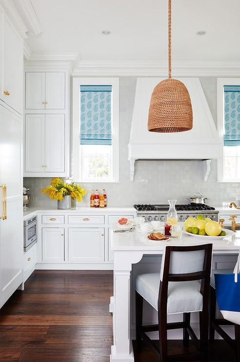 White Kitchen With Blue Paisley Roman Shades Cottage