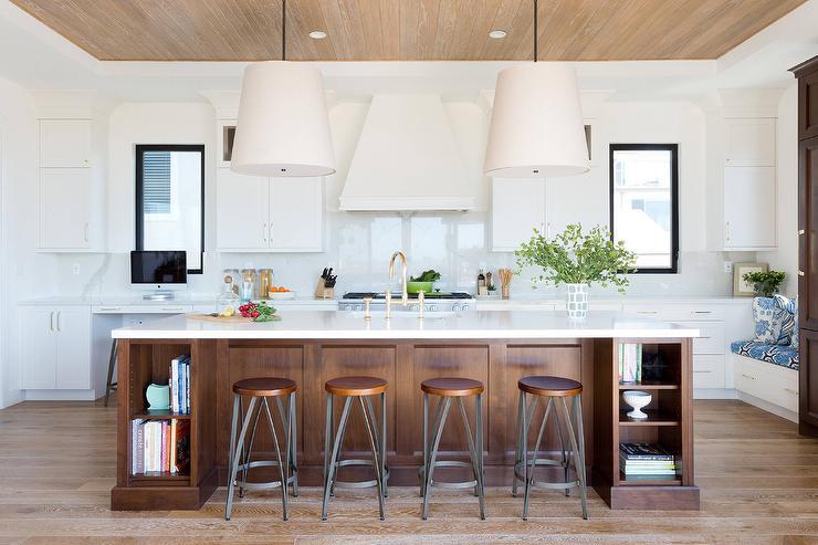 Brown Oak Kitchen Island With Modular Cookbook Shelves