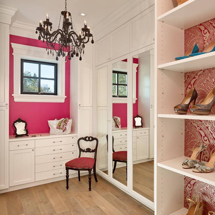 Hot Pink Walk In Closet With Black Beaded Chandelier