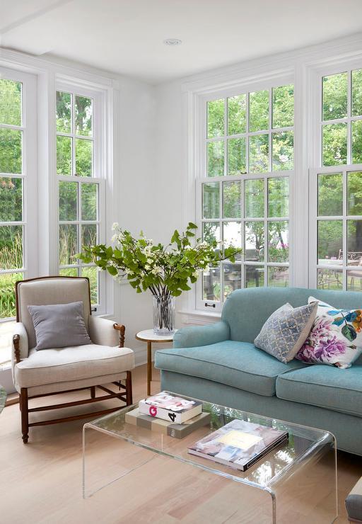 blue roll arm sofa with acrylic
