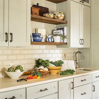 cream beveled kitchen backsplash tiles