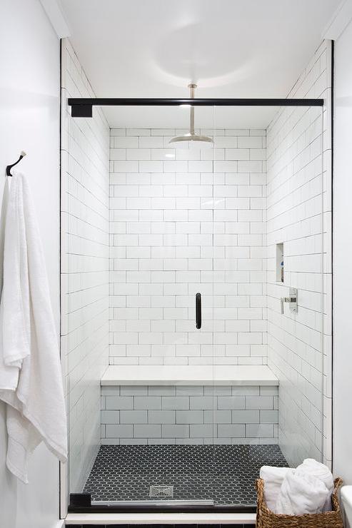 black hex shower floor tiles