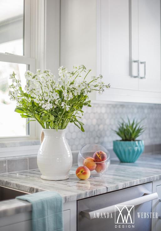 White Kitchen With Blue Accents Cottage Kitchen
