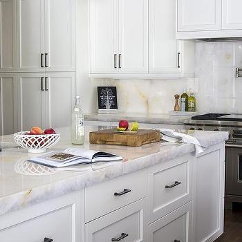 White Onyx Kitchen Countertops Design Ideas