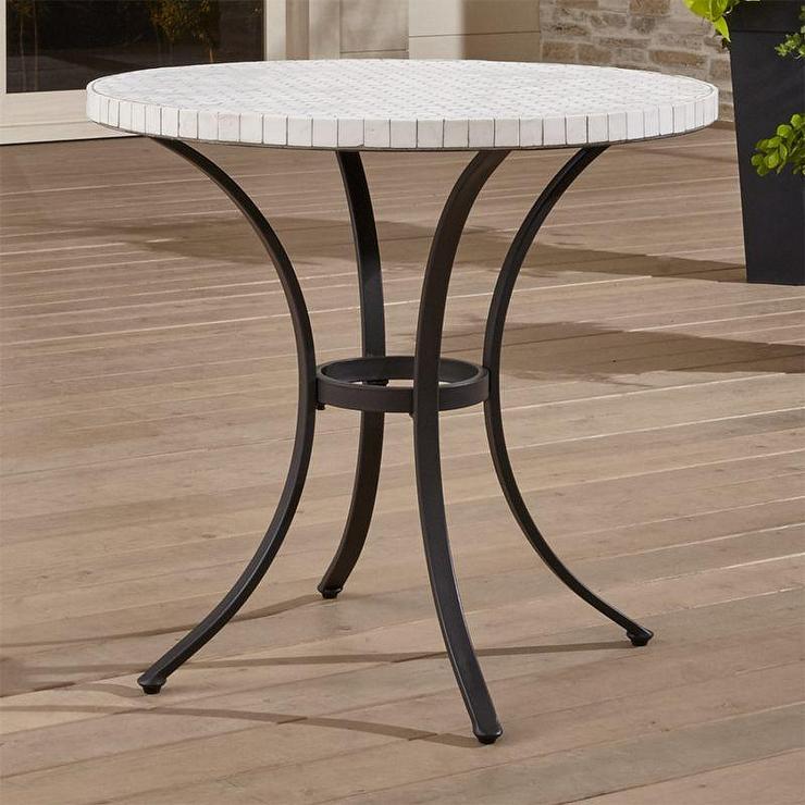 hexa white marble tile bistro table