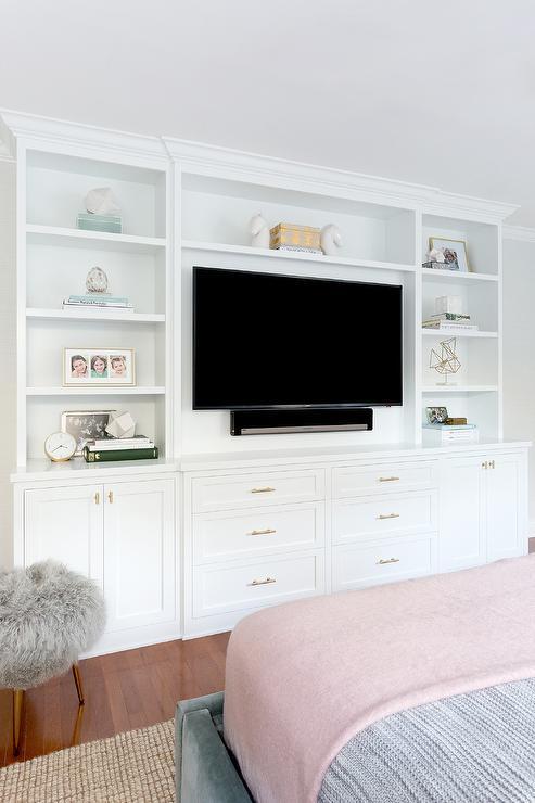 Bed Facing Built In TV Unit Transitional Bedroom