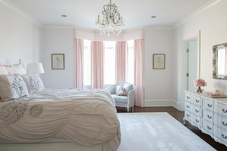 Bedroom Bay Window With Pink Curtains Transitional