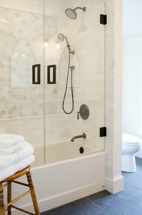 Black Slate Bathroom Floor Transitional Bathroom