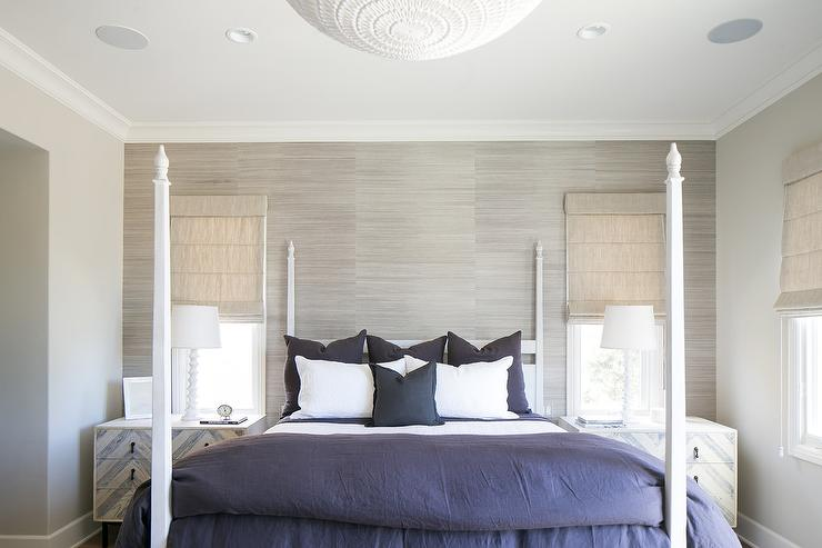 Gray Linen Bedroom Chairs With Blue Pillows Placed At Foot Of Bed Transitional Bedroom