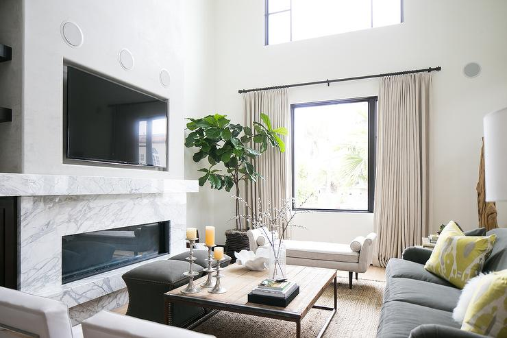 Marble Fireplace Mantle Under TV Niche Transitional