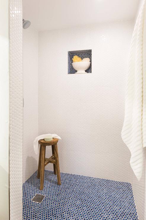 blue penny shower floor tiles