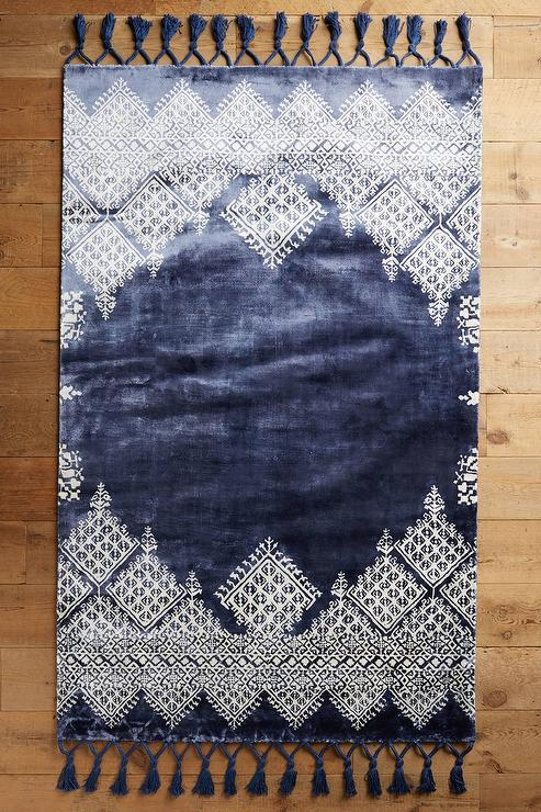 Moroccan Navy Blue Wool Rug