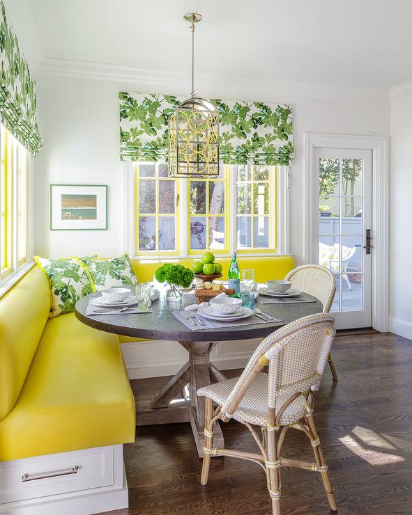 Yellow And Green Breakfast Room Transitional Dining Room