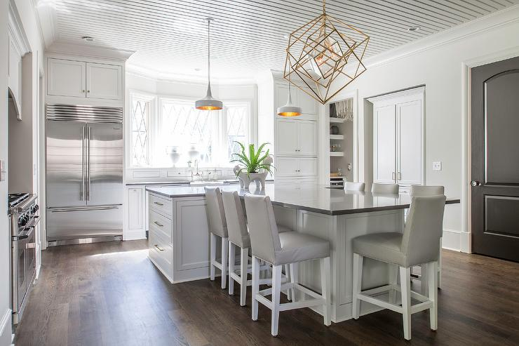 T Shaped Kitchen Island With Dove Gray Leather Barstools