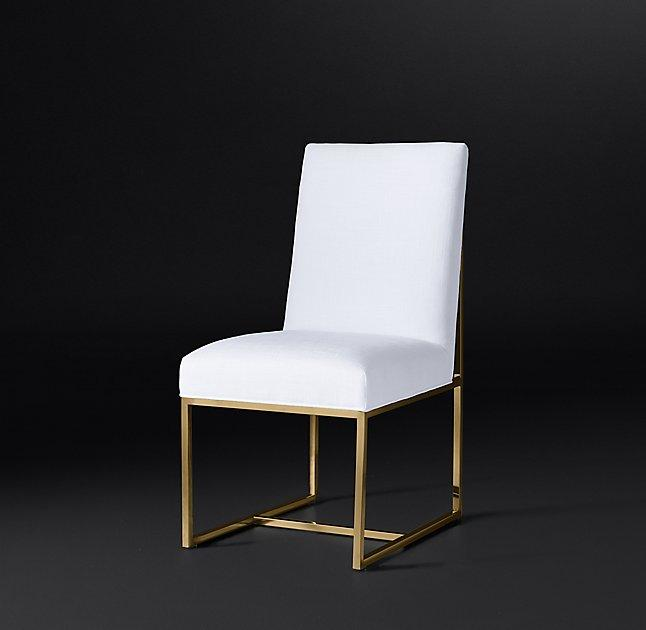 Jonathan Adler Maxime White And Brass Dining Chair