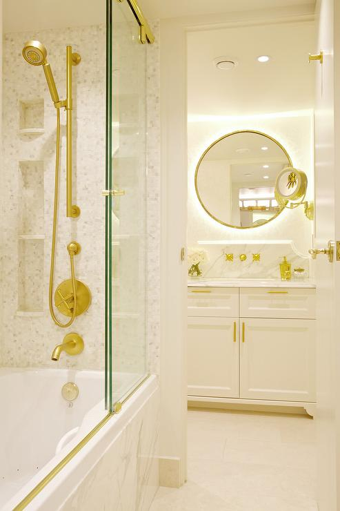 Drop In Bathtub With Sliding Glass Shower Doors On Brass