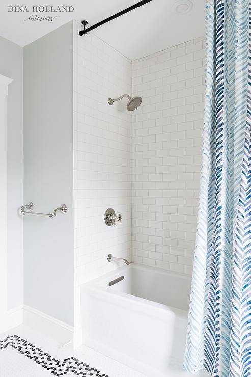 Blue Herringbone Shower Curtain Transitional Bathroom