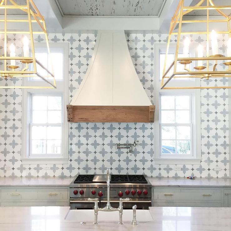 blue marble mosaic kitchen backsplash