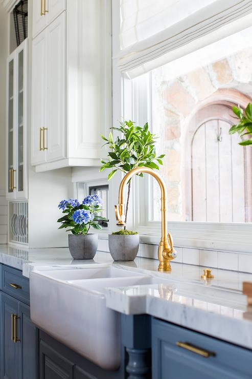 Blue Cabinets With Antique Brass Gooseneck Faucet Transitional Kitchen Benjamin Moore