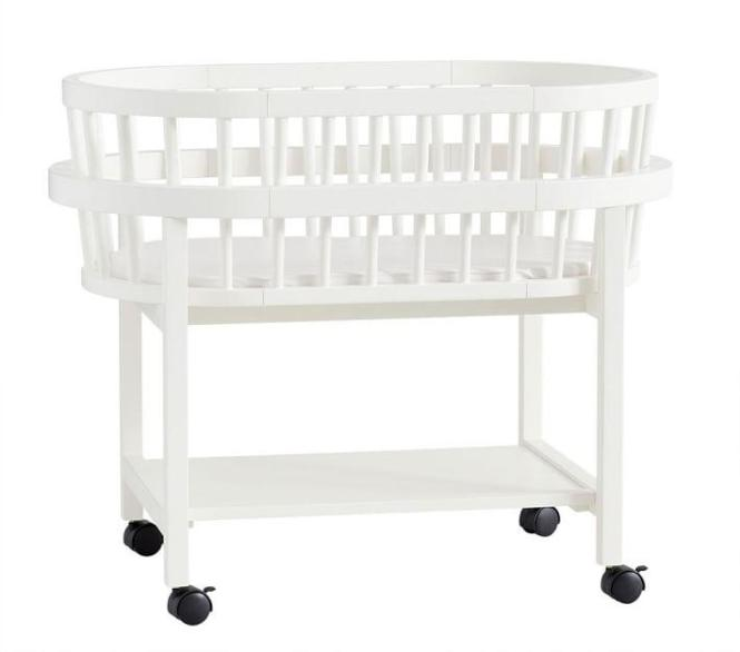 Bristol Round White Wood Bassinet