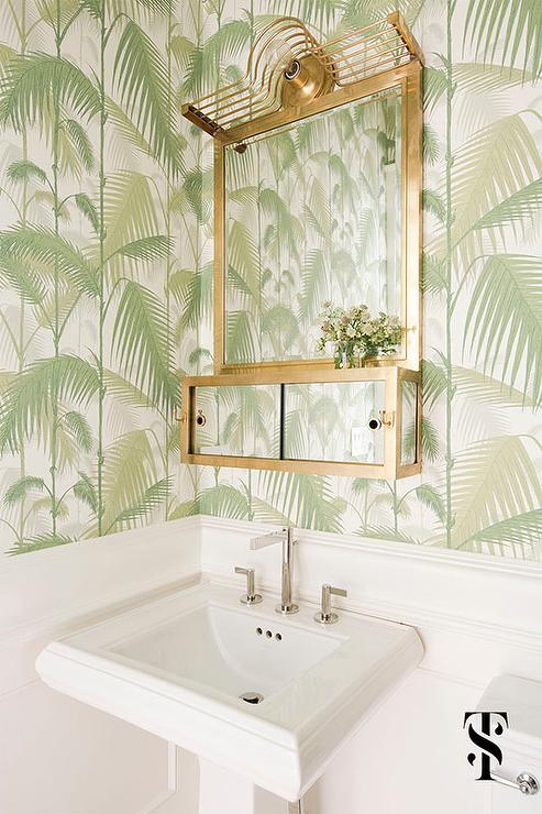 White Powder Room With Cole And Son Jungle Palm Wallpaper Cottage Bathroom