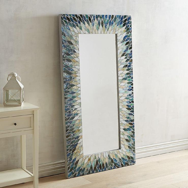 cascade blue mosaic glass floor mirror