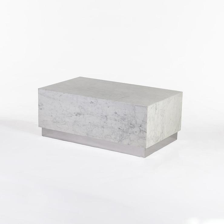 eindride white marble block coffee table
