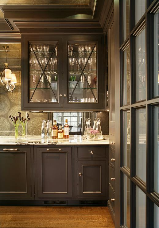 Butler Pantry With Shelves On A Mirrored Backsplash Contemporary Kitchen