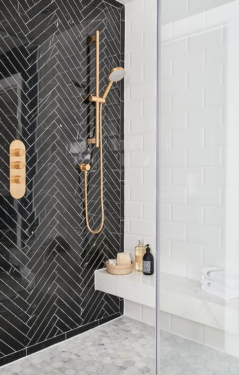 Black And White Shower With Gold Shower Head