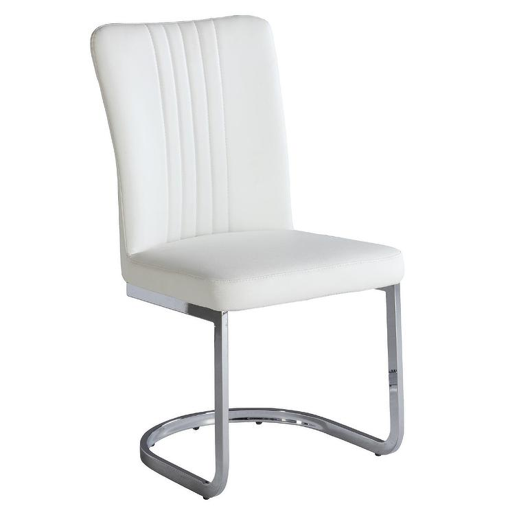 trey white leather channel tufted chair