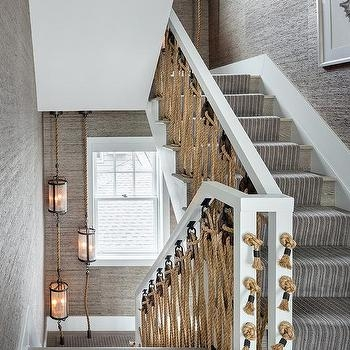Rope Staircase Balusters Design Ideas | Wood Handrail With Iron Balusters | Stairway | Wooden | Copper | Cast Iron | Landing