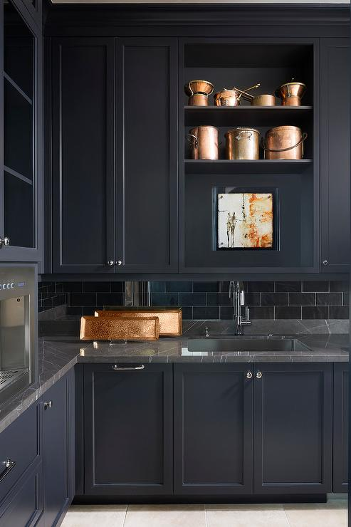 Black Marble With Black Butler Pantry Cabinets Transitional Kitchen