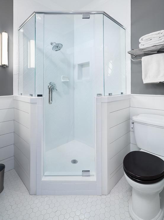corner shower with white herringbone