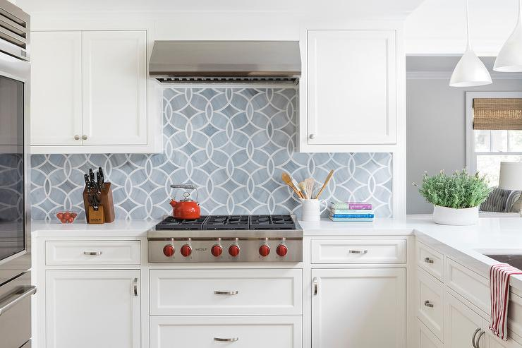 gray mosaic glass tile backsplash with