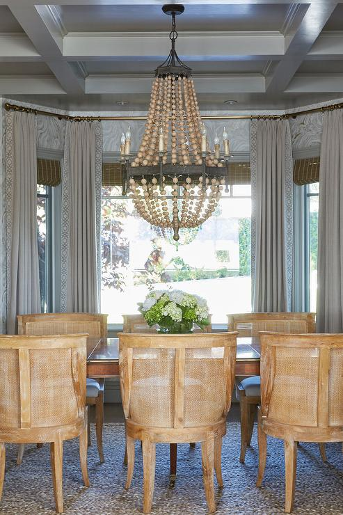 Wood Beads Chandelier On Coffered Ceiling Transitional