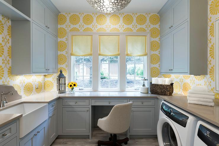 Yellow And Gray Laundry Room With Desk Transitional Laundry Room