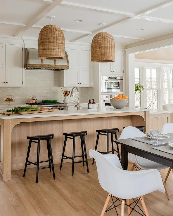 White Cabinets With Blond Wood Center Island