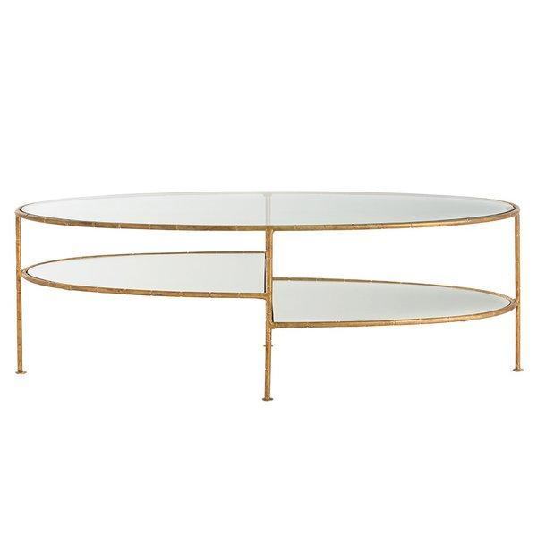 emilia oval tiered glass brass coffee table