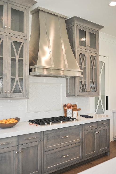Gray Wash Wood Center Island With Silver Leaf Lanterns Transitional Kitchen
