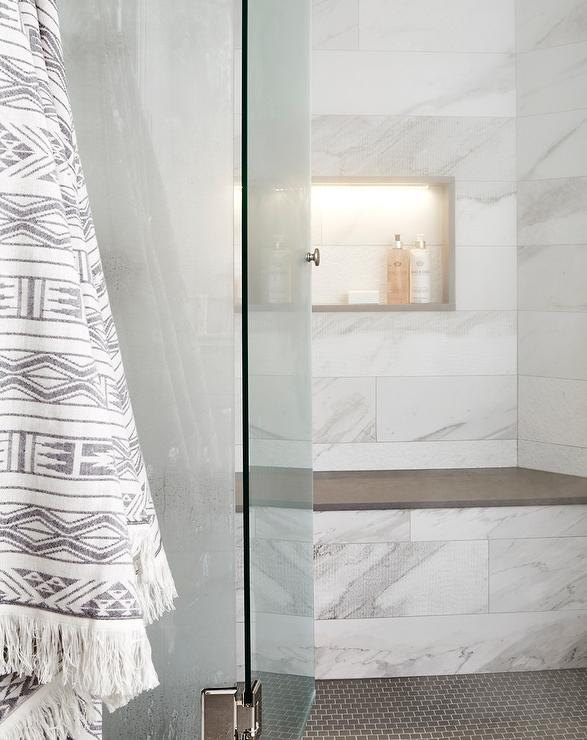 Gray Marble Tile Shower Niche Over Gray Marble Shower