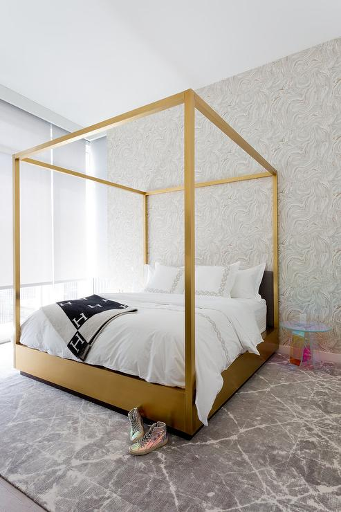 Gold Canopy Bed With Lucite Table Contemporary Bedroom