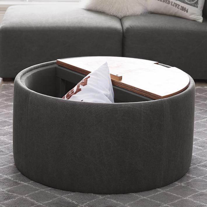 alex round gray storage table