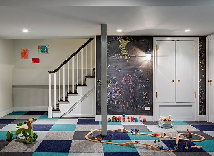 Basement Playroom Chalkboard Walls With Blue And Gray Carpet Tiles | Carpet Squares For Stairs | Diy | Right Price Carpet | Hallway | Interior Modern | Stair Carpet Installation