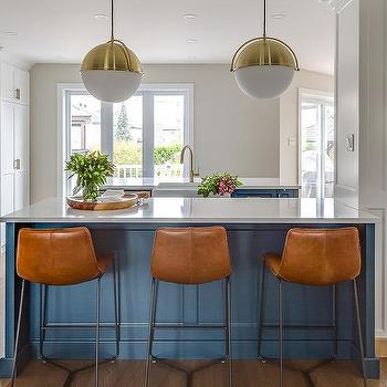 Orange Square Back Leather Bar Stools Design Ideas Blue Island with White Glass and Brass Globe Lights
