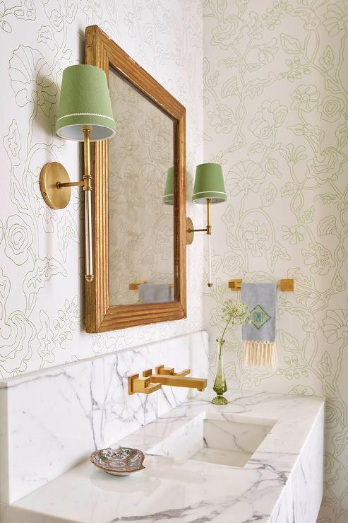 marble sink with wall mount gold faucet